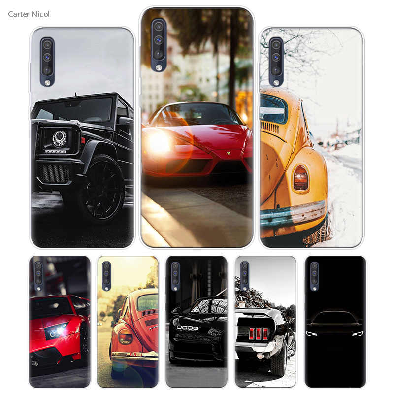 Transpatrent Silicone Case for Samsung Galaxy A50 A70 A30 M30 M20 A10 A20 A40 M20 Cover Phone Dark Shiny Cars Sports Rod Road