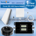 Sanqino GSM 900MHz DCS 1800MHz Dual Band Cell Phone Signal Repeater Cell Phone Signal Booster Panel Antenna Cable Full Kit