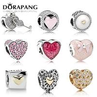 DORAPANG 100 Genuine 925 Sterling Silver Heart Lock Beads Clear CZ Charm Bead Fit Bracelet DIY