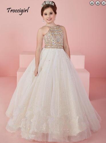 Flower     girl     dress   beaded crystal ball gown rhinestone belt ruffled elegant chindren