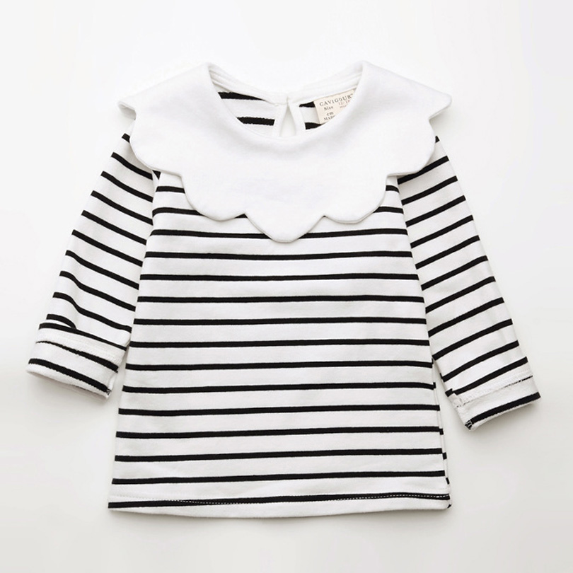 все цены на Spring Kids Girls T-shirt Children Long Sleeve Pan Collar Striped Tees Fashion Baby Girl O-Neck Blouse Tee Tops Lovely Clothes