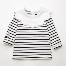 Spring Kids Girls T-shirt Children Long Sleeve Pan Collar Striped Tees Fashion Baby Girl O-Neck Blouse Tee Tops Lovely Clothes все цены