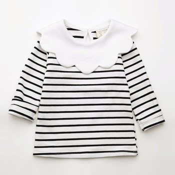 Spring Kids Girls T-shirt Children Long Sleeve Pan Collar Striped Tees Fashion Baby Girl O-Neck Blouse Tee Tops Lovely Clothes cutout neck bell sleeve striped tee