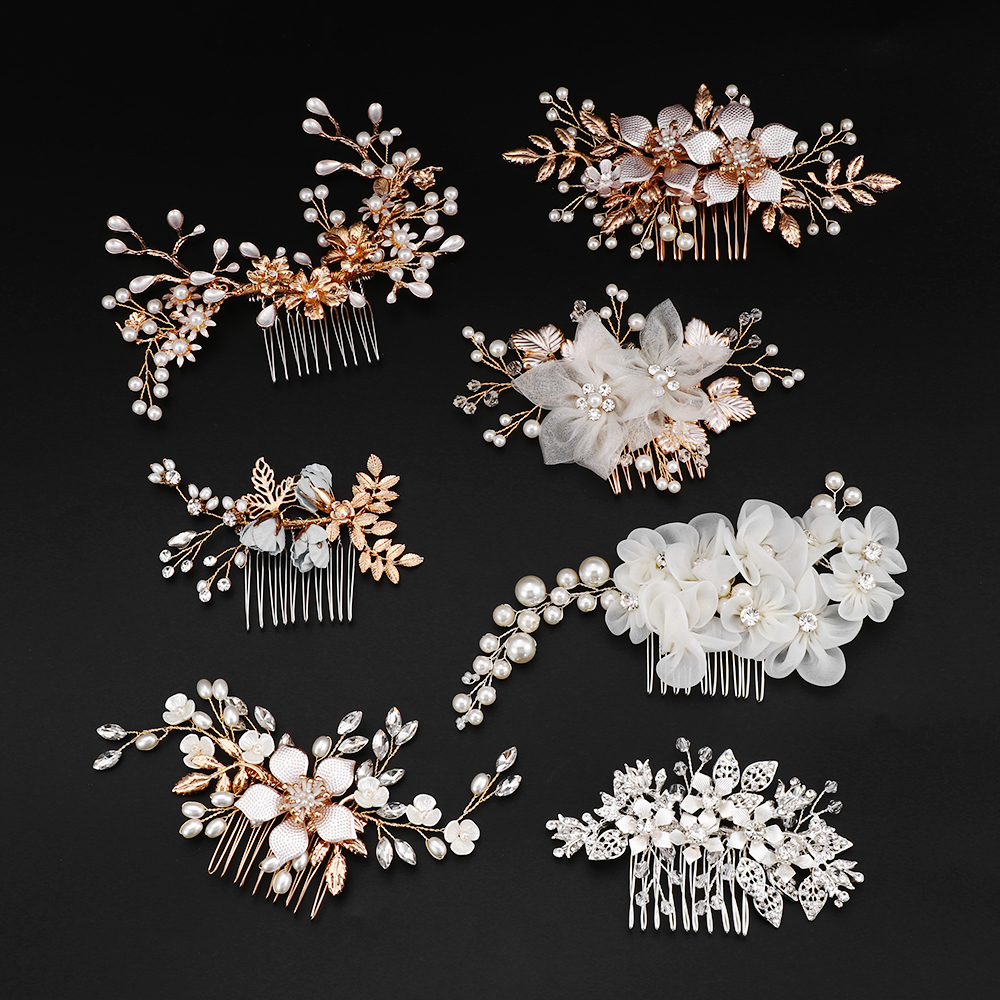 us $3.49 25% off|many style gold color crystal simulated pearl hair comb for wedding hair accessories handmade bride hair jewelry headpiece tiara-in