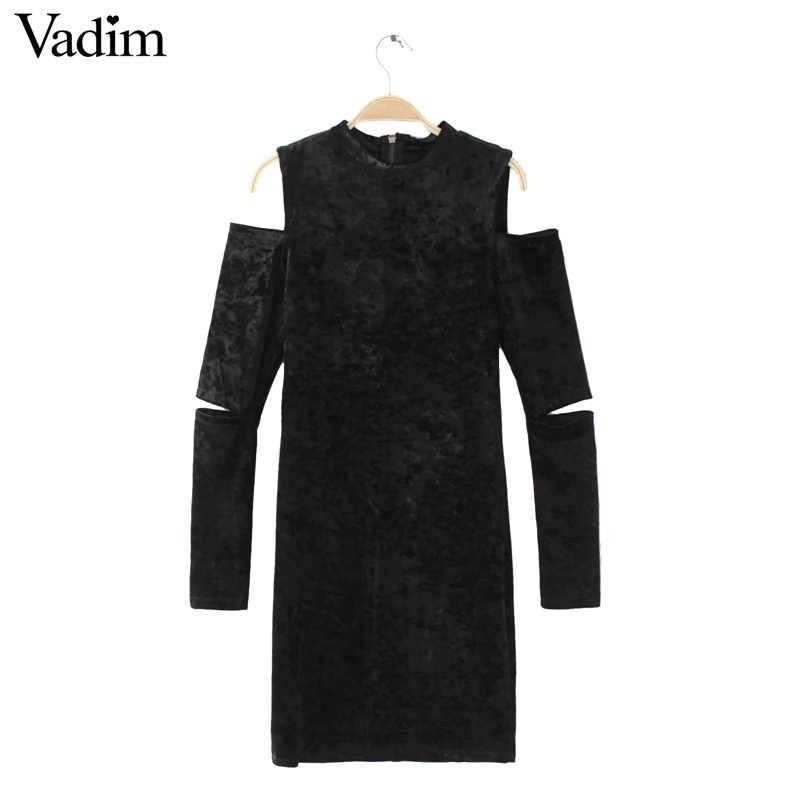Женская сексуальная бархатная со спущенным плечом винтажное платье с вырезами и длинным рукавом женская модная уличная эластичная тонкая одежда vestidos QZ2783