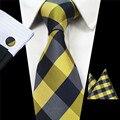 Новая Мода Плед Галстук Пейсли 100% Шелк Жаккард Мужские галстук Ханки Запонки Набор Карманный Площадь Мужские Галстук Gravata для свадьба