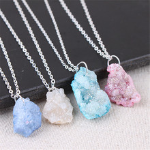 Quartz Necklace Natural Druzy Agates Stone Slice Crystal Pendant Chain Fashion Jewelry With