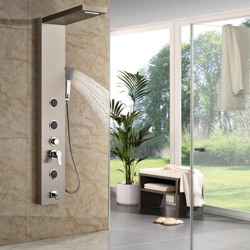 Brushed Nickel Shower Panel Shower Column Wall Mounted With Rain ...