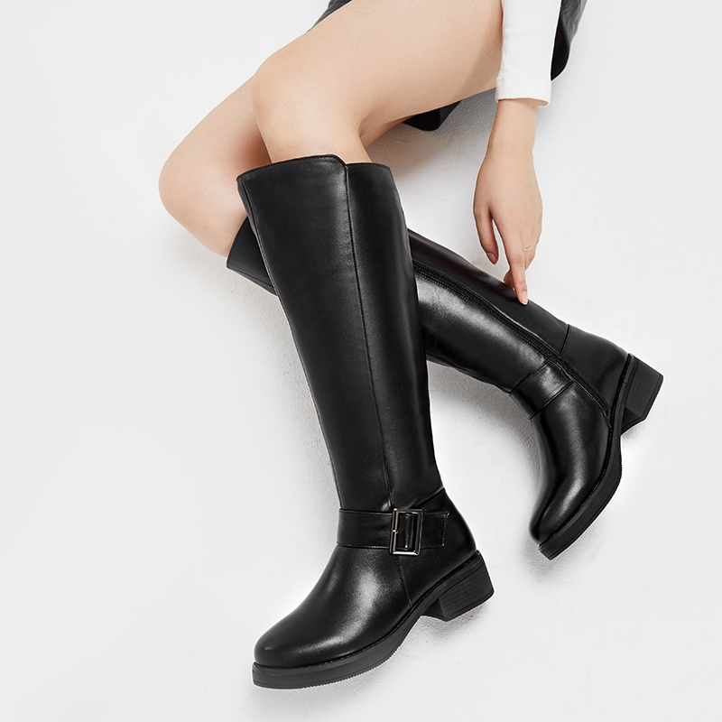 Image 5 - MORAZORA 2019 New genuine leather snow boots women fashion high quality thick fur wool winter boots ladies knee high booties-in Knee-High Boots from Shoes