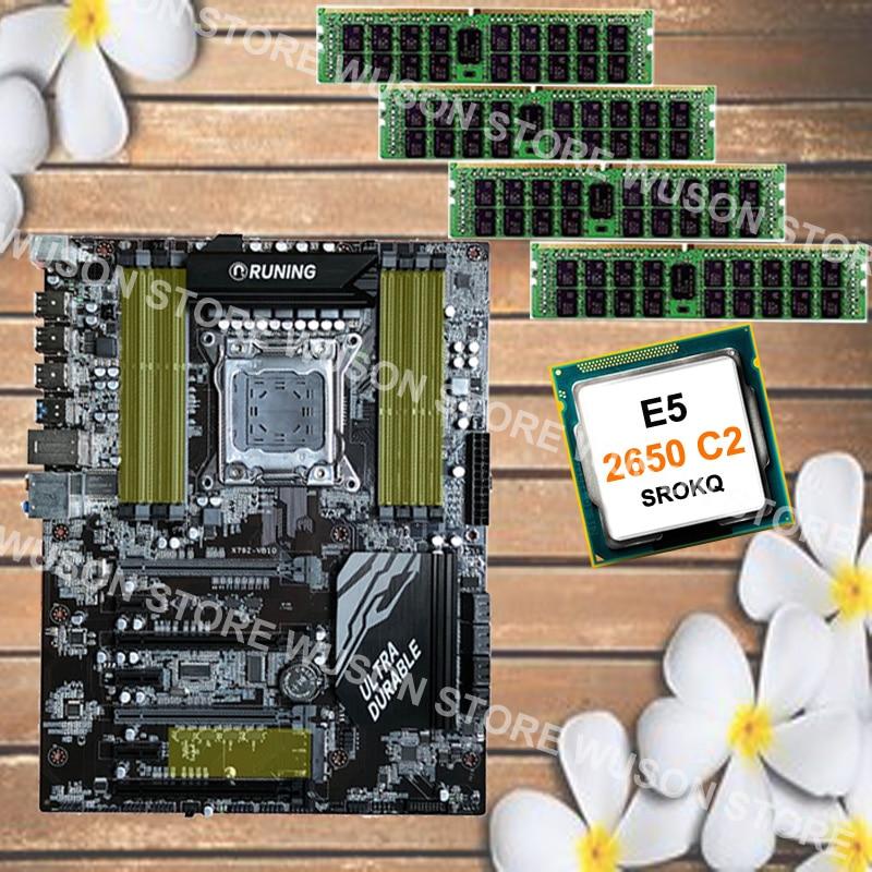 New arrival Runing X79 motherboard 8 RAM slots max 8*16G 1866 memory CPU Xeon E5 2650 C2 SROKQ RAM 32G(4*8G) 1600MHz DDR3 RECC цена