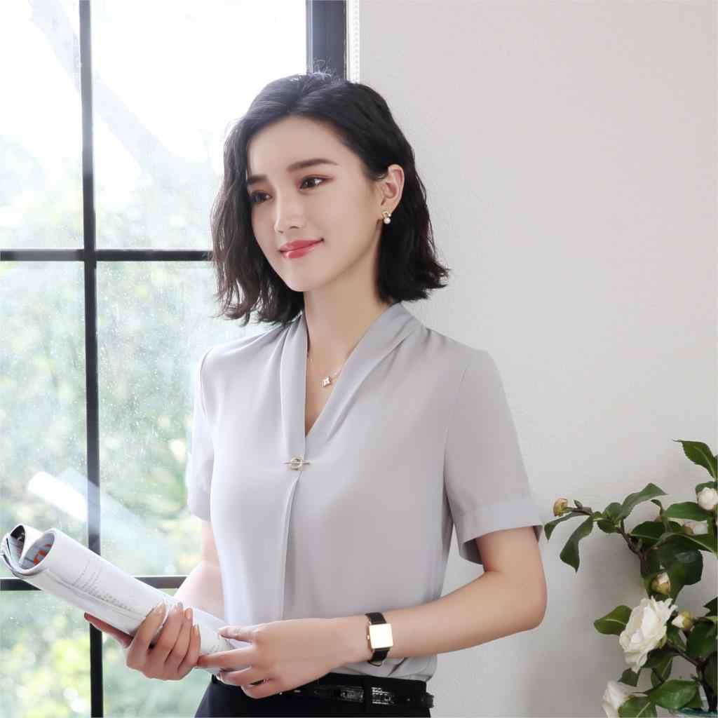 f7a8e001d09b Grey Chiffon Blouses Formal Uniform Shirts For Ladies OL Styles Blouse  Business Women Work Wear Tops