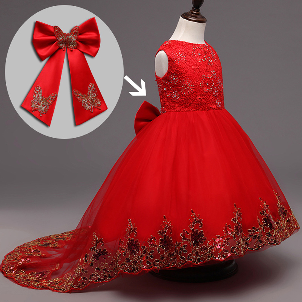 HOT Flower Girl Lace Dress Children Red Mesh Trailing Butterfly Girls Wedding Dresses Kids Ball Gown Embroidered Bow Party Dress lace butterfly flowers laser cut white bow wedding invitations printing blank elegant invitation card kit casamento convite
