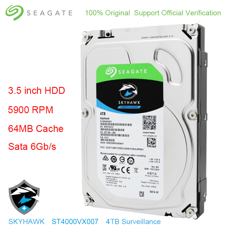Original Seagate Internal 4TB HDD Skyhawk Video Surveillance Hard Drive Disk 3.5 5900 RPM SATA 6Gb/s 64MB Cache ST4000VX007