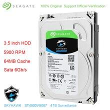 """Oryginalny Seagate wewnętrznych 4 TB HDD Skyhawk nadzoru wideo dysk twardy 3.5 """"5900 obr/min SATA 6 Gb/s 64 MB pamięci podręcznej ST4000VX007"""