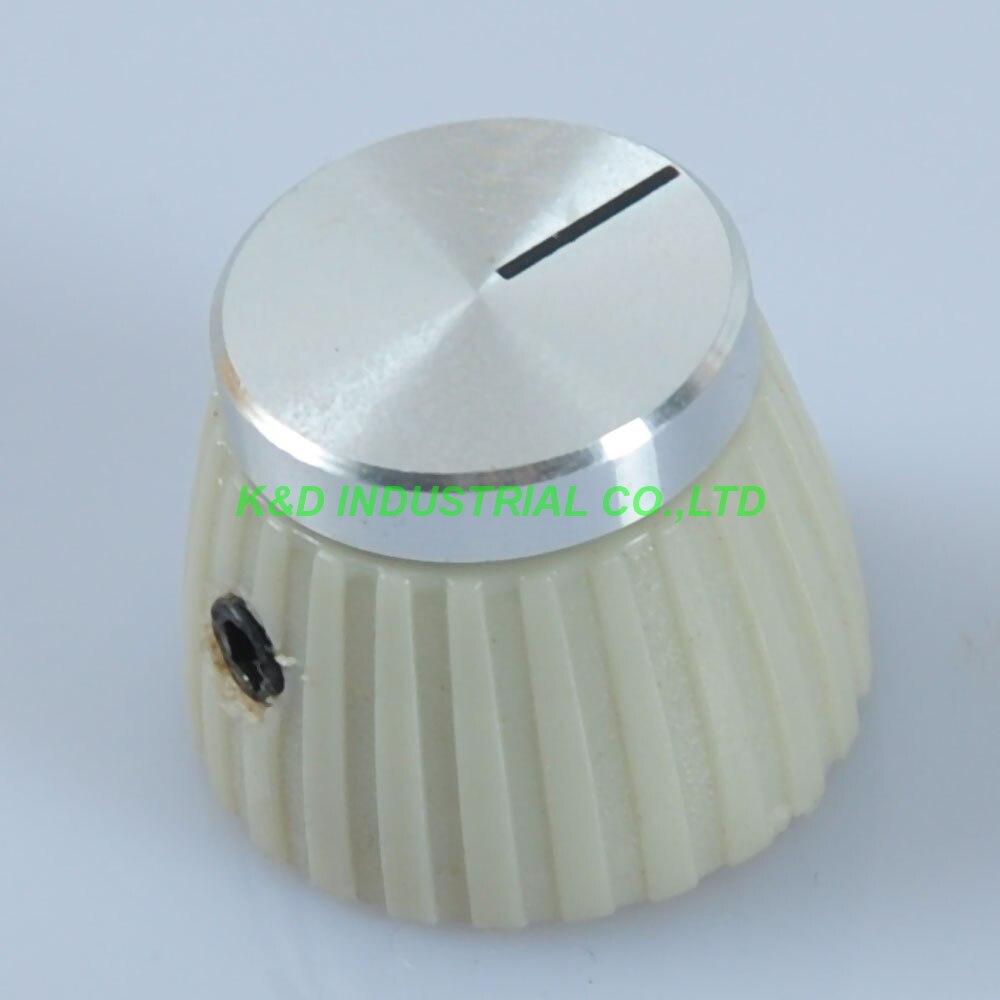 10 pcs Partes Guita Marechal Estilo Creme Amp Controle de Volume Knob Com Top Prata 1 4