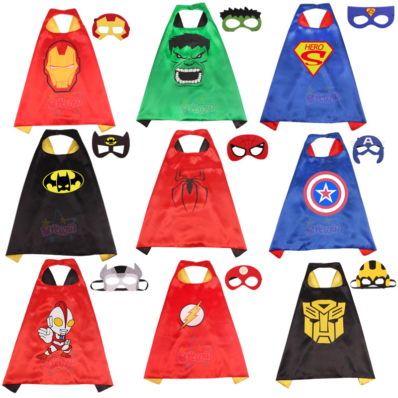 Superhero Cape with Mask for Girls Boys Superman Batman Spiderman Superhero Costume Kids Halloween Party Costumes for Christmas