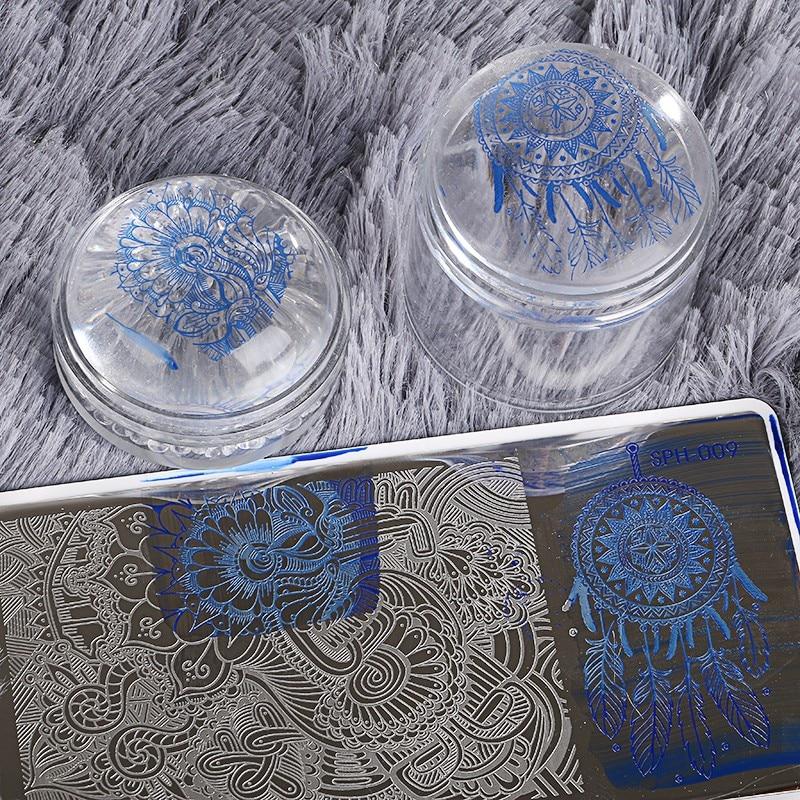 1Sets Transparent Stamper Nail Art Clear Jelly 4cm Stamper Polish Transfer Print Stamping Tools Nail Stamper with Cap Set
