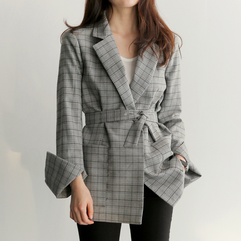 Casual Work Women Gray Plaid Office Lady Blazer Jacket Fashion Bow Sashes Split Sleeve Femme Elegant Blazers With Belt Feminino