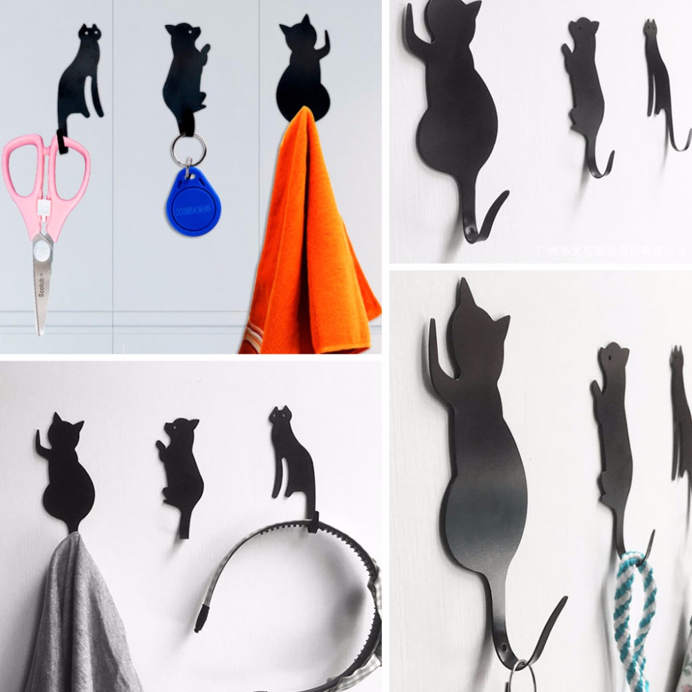 3pcs Keys Hanger Cat Tail Shaped Kitchen Metal Hook key holder wall Door Hanger Decorative