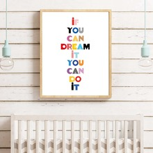 Modern Minimalist If You Can Dream Canvas Painting Nursery Quotes Posters Prints Wall Art Pictures for Bedroom Home Decor