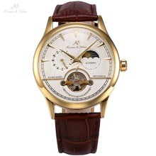 KS 24 Hours Self Winding White Golden Relogio Leather Strap Analog Moon Sun Automatic Casual Men