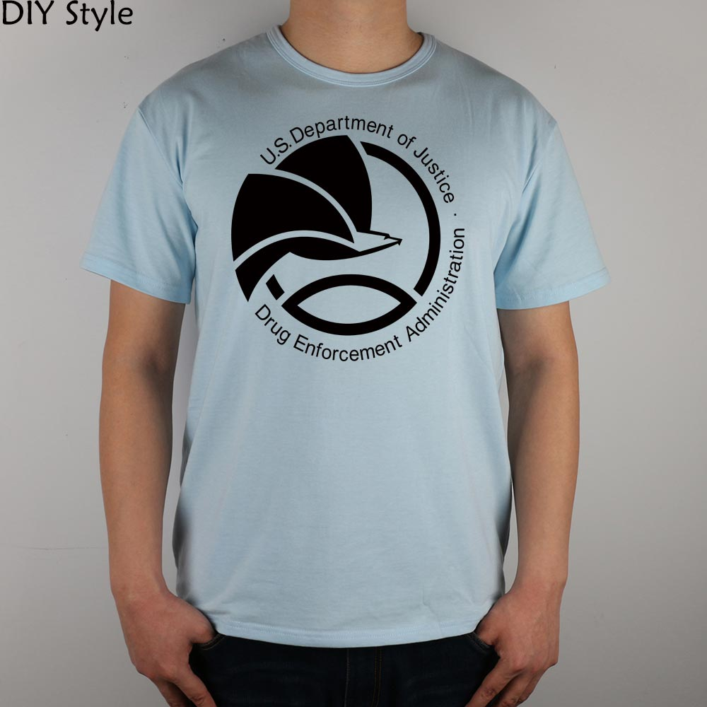 Black DEA Drug Enforcement Administration T-shirt Top Lycra Cotton Men T shirt New Design High Quality Digital Inkjet Printing ...