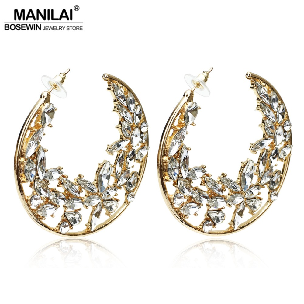 MANILAI Luxury Big Rhinestones Hoop Earrings For Women 2018 Wedding Jewelry 60mm Statement Earings Fashion Jewelry Round 3 Color statement hollow out hoop earrings