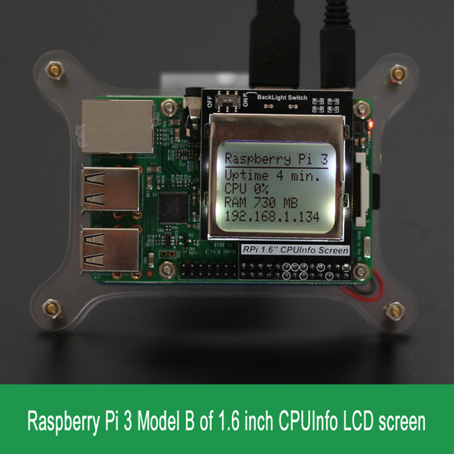 Orange Pi/Raspberry Pi 3 Model B CPU Info LCD Screen 1 6 inch 84x48 with  Backlight Switch Compatible Pi2/1-in Demo Board from Computer & Office on
