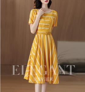 Striped yellow dress in the long temperament 2019 new summer short sleeves waist a-line skirt(China)