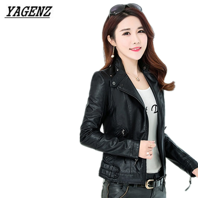 YAGENZ Spring Women PU   Leather   Short Jacket Coats 2017 high quality Autumn Women Black Blazer Zippers Coat Motorcycle Outerwear