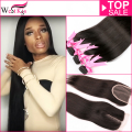West Kiss Company Product 8A Peruvian Virgin Hair With Closure 3/4Bundles Human Hair extensions With Closure straight human hair