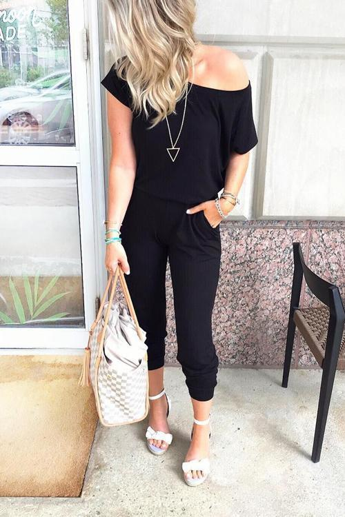 Solid Casual Sexy Off Shoulder Short Sleeve Women Suit 2019 New Arrival Women Summer Fashion Slim Elegant Long Rompers Female 22