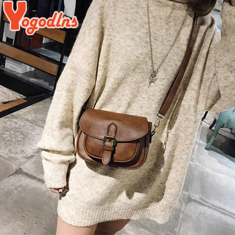Yogodlns جديد وصول بو الجلود النساء حقائب كتف الإناث حقائب البسيطة Crossbody حقيبة ساعي خمر صغيرة رفرف حقيبة حقائب