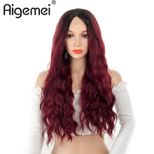Aigemei T Part Lace Front Wigs  Heat Resistant Hair Long Curly Synthetic Lace Front Wigs For Women 150% Density 20inch цена 2017