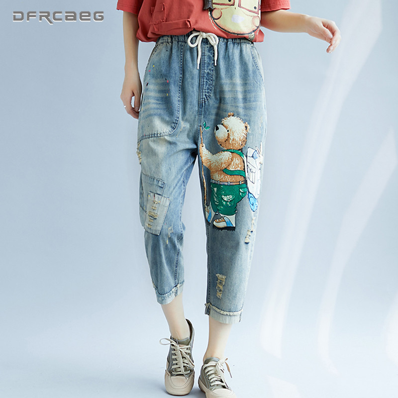 Vintage Bear Print Capris Denim Harem Pants   Jeans   Woman 2018 Autumn Fashion Streetwear Elastic Waist Ladies Loose BF Hole   Jeans