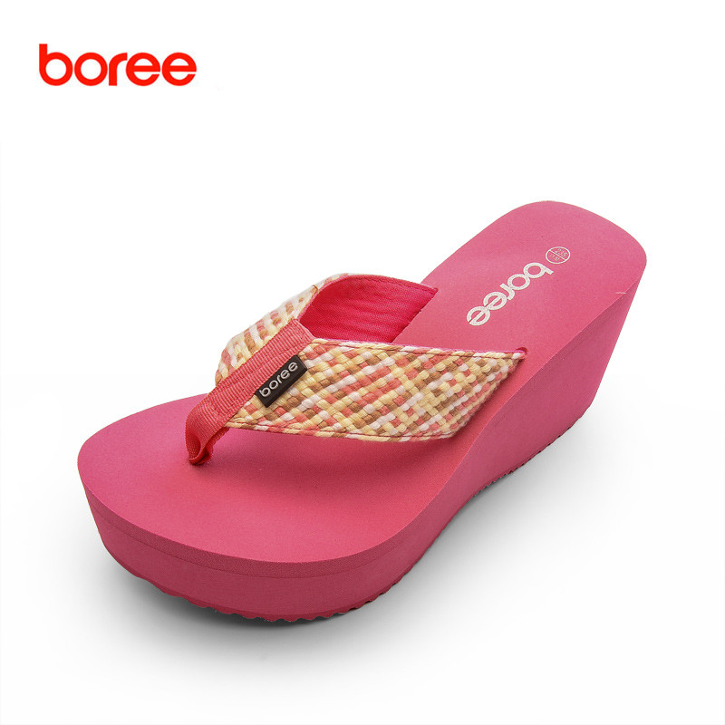 9daf4dd18f36 Boree New Summer Beach Women s Fashion Flip Flops Casual Shoes Solid  Leisure Flatform Slippers Ribbon Upper