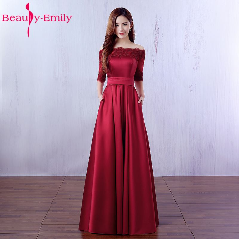 Beauty Emily Elegant Wine Red Long Evening Dresses 2019 Lace Pocket Satin Custom Made Women Party Prom Dresses Robe De Soiree-in Evening Dresses from Weddings & Events
