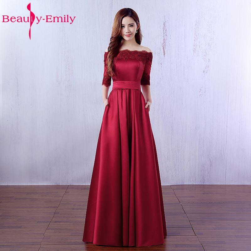 Beauty Emily Elegant Wine Red Long Evening Dresses 2019 Lace Pocket Satin Custom Made Women Party Prom Dresses Robe De Soiree
