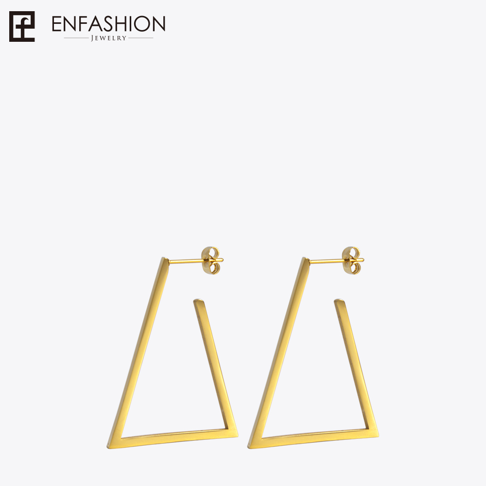 цена на Enfashion Jewelry Geometric Small Triangle Earrings Gold color Stainless steel Long Drop Earrings For Women Earings EB171034