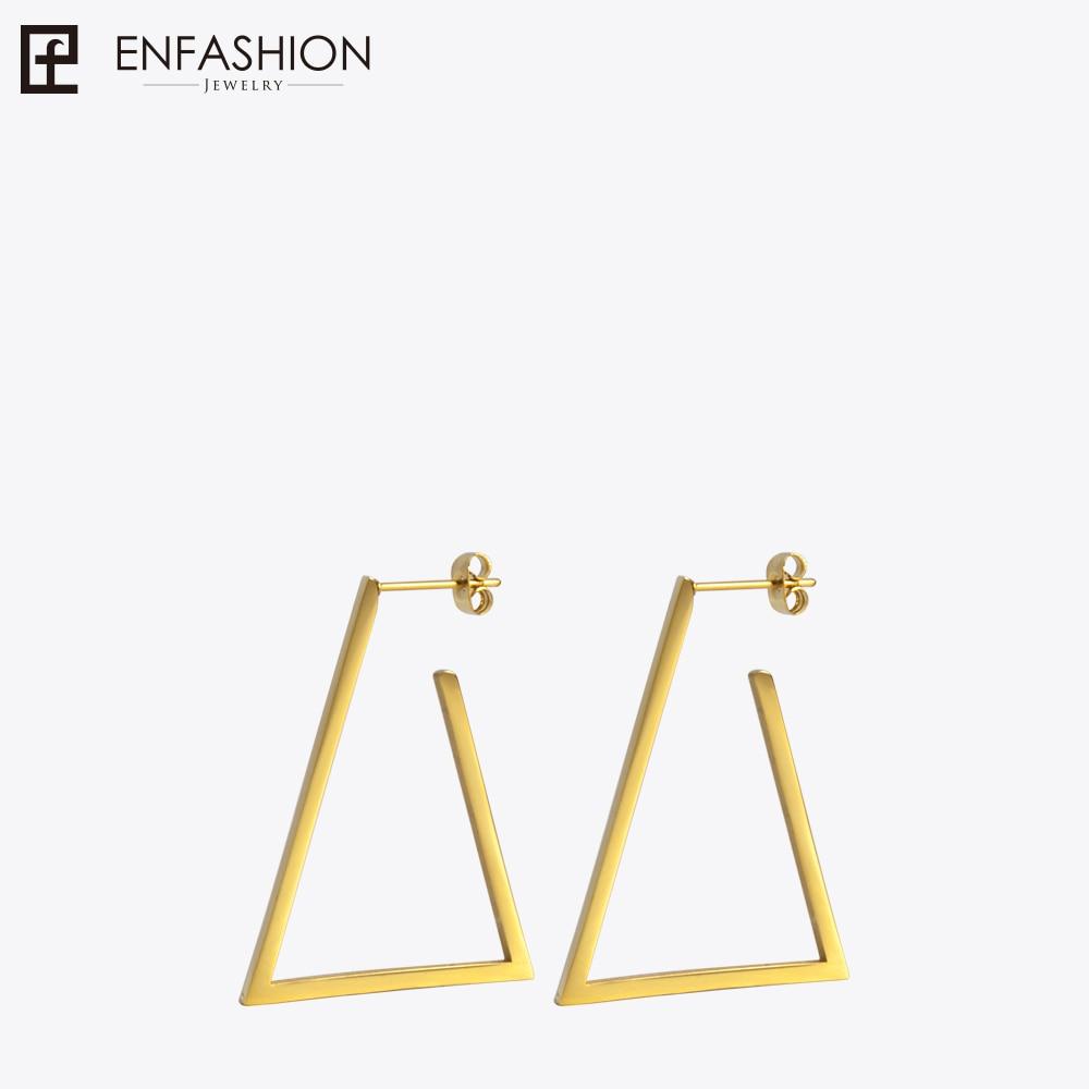 Enfashion Jewelry Geometric Small Triangle Earrings Gold color Stainless steel Long Drop Earrings For Women Earings EB171034 enfashion wholesale geometric triangle ear jacket earrings stud earring gold color earings stainless steel earrings for women