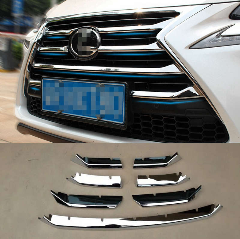MONTFORD For Lexus NX NX200 NX200T NX300H 2015 2016 2017 ABS Chrome Front Upper Grille Center Grill Cover Around Trim Covers abs chrome front upper grille for 2015 2016 lexus nx 200 nx200t nx300h center grill cover around trim car styling accessories