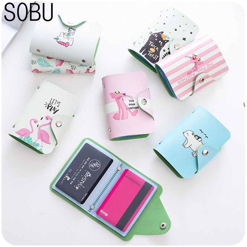 цены Cute 20 Bits Card ID Holders Case PU Leather Business Card Holder Women Credit Passport Card Bag Passport Card Wallet H084