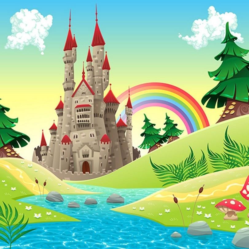 Fairy Tale Princess Castle Tree River Rainbow Mushrooms Background Vinyl cloth Computer printed wall photo backdrop