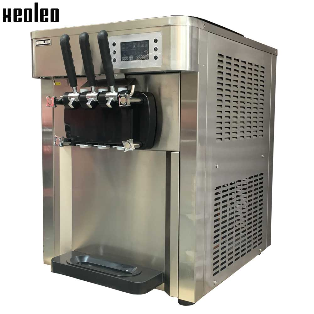 Xeoleo 3 flavors Ice cream maker Commercial Soft Ice cream machine 2500W 36L/H CE approved Stainless steel Yogurt ice cream 220V  xeoleo three flavors ice cream machine commercial soft ice cream maker 18 20l h blue yellow pink 1hp yogurt ice cream 2000w