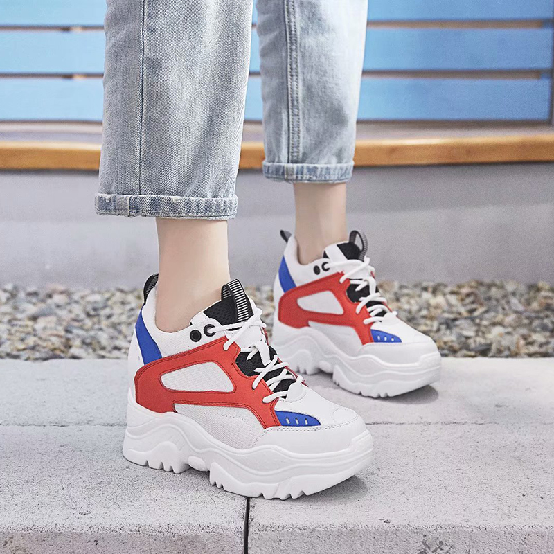Dumoo Autumn Height Increasing Shoes Women Sneakers High Heel 8cm Leisure Platform Wedges White Casual Shoes zapatillas mujer