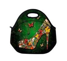 2015 новый зеленый бабочка обуви неопрена тепловой портативный обед женщины дети ребенок свободного покроя тотализатор водонепроницаемый контейнер еды