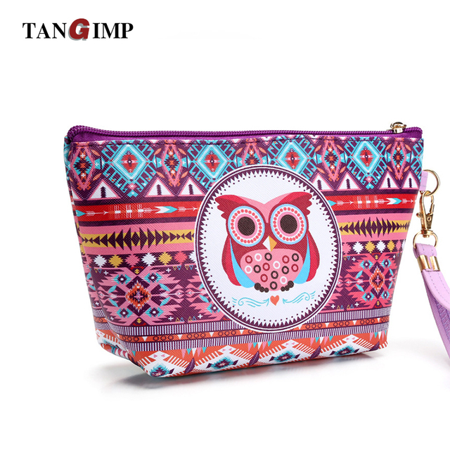 9e44eacb42 TANGIMP Cosmetics Bag Makeup Case Travel Kit Lady Cute Owl Ethnic Pink  Organizer Pouch Toiletries Pencil Case Maquiagem Maleta