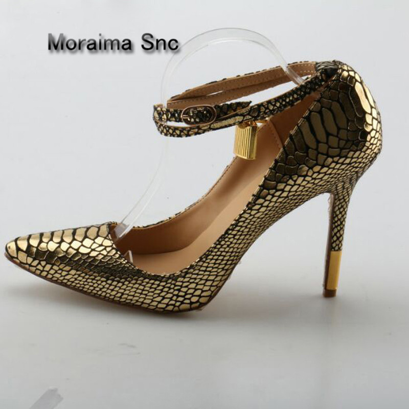 Moraima Snc Golden Snakeskin Pattern Metal Lock Pumps Pointed Toe Ladies Ankle Strap Plated Stiletto Heels Party Dress ShoesMoraima Snc Golden Snakeskin Pattern Metal Lock Pumps Pointed Toe Ladies Ankle Strap Plated Stiletto Heels Party Dress Shoes