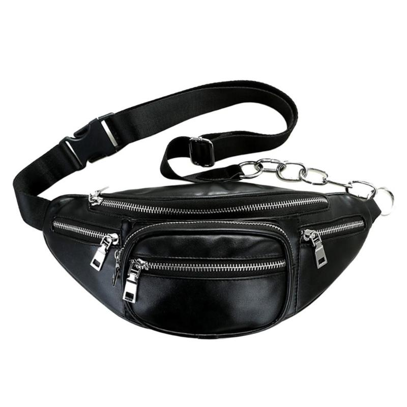 Unisex Zipper Waist Pack Solid Crossbody Bags for Women PU Leather Shoulder Chest Bag Large Capacity  Handbag Waist Pack Z70