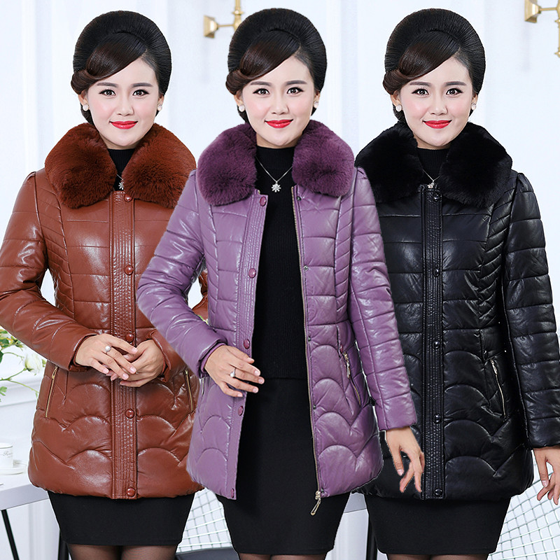2018 Middle aged Fashion New Female Parkas Coat elegant Women Clothing Large Size Winter Jacket Coat Long PU   Leather   Jacket X186